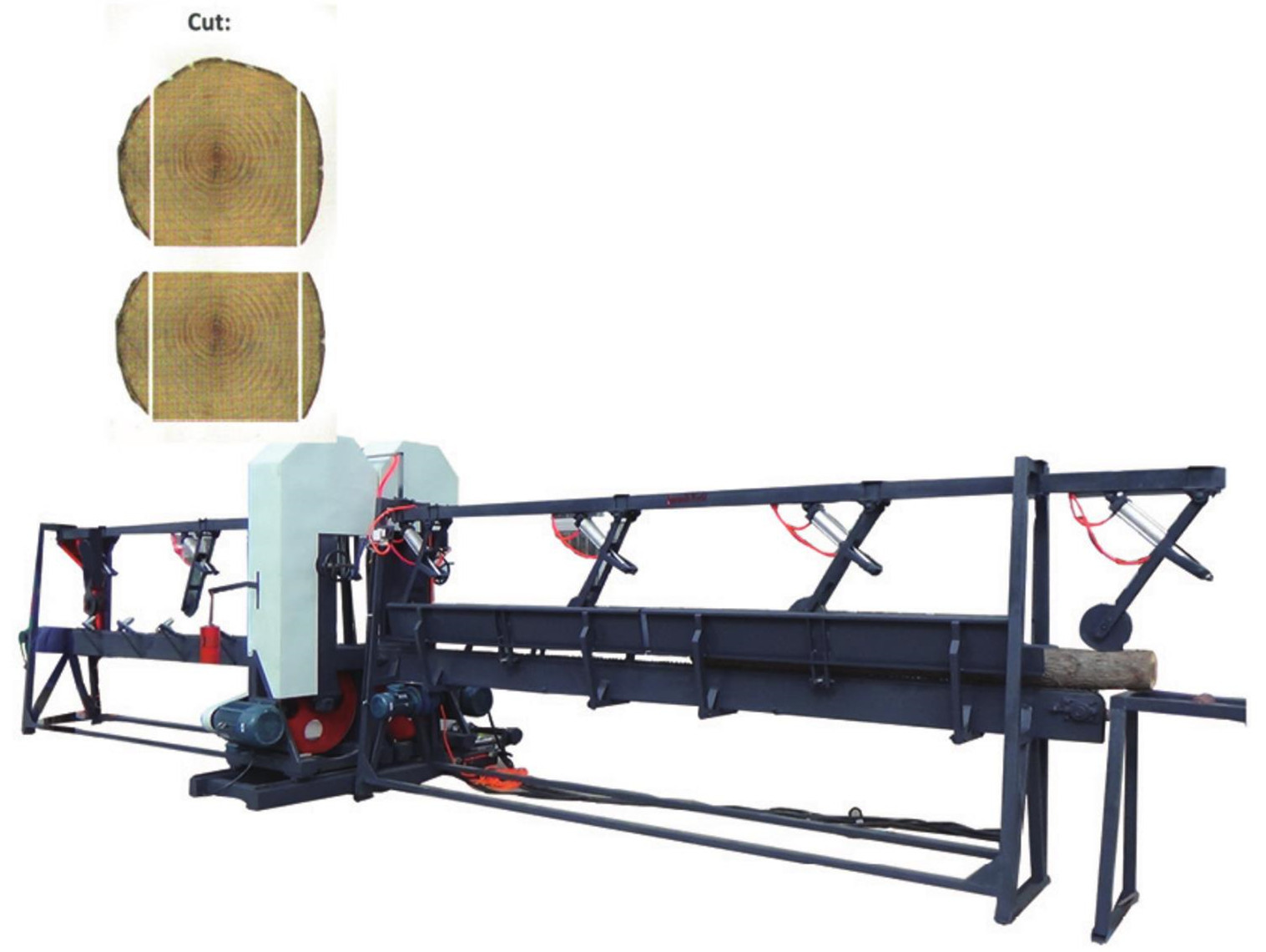 Twin Vertical Band Saw Machine / Industrial Equipment Log Twin Vertical Band Saw Mill Machine