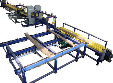 China Twin vertical wood band saw, log sawing sawmill machine with frequency feeding factory
