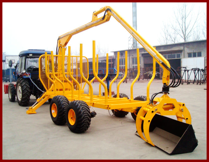 Forest Machinery Hydraulic Log Trailers with Crane with loading capacity 8000kgs