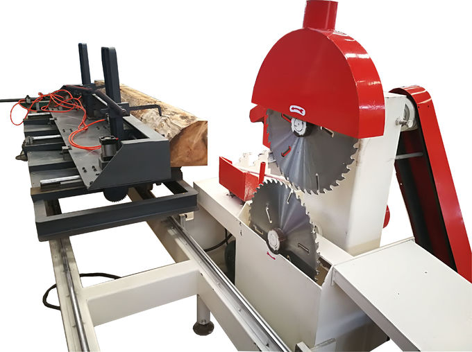 Twin Disc Circular Saw /Computer Wood Log Sliding Table Sawmill with Linear axis